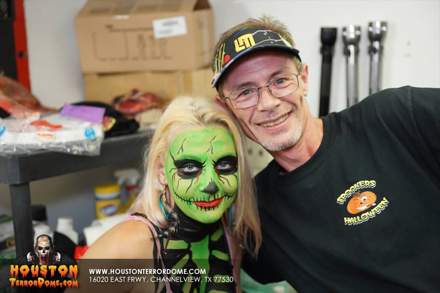 Female Zombie posses with Makeup Artist Cory