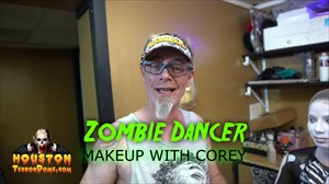 Houston Terror Dome's Head Makeup Artist Corey Conrad goes through the process of face painting one of our Zombie Dancers.  Our Zombie Dancers undergo full body airbrushing, makeup, wigs, and Contact Lenses.  Make up and Contact Lenses available at Spookers Halloween Stores in Houston.